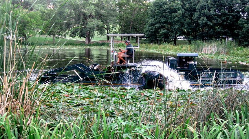KU-EHS News: Annual Potter Lake Water Lily Harvesting Project Completed