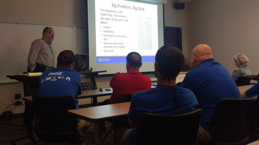 KU-EHS staff member Steve Levenson conducting Walking and Working Surfaces training to KU-Facilities Services staff
