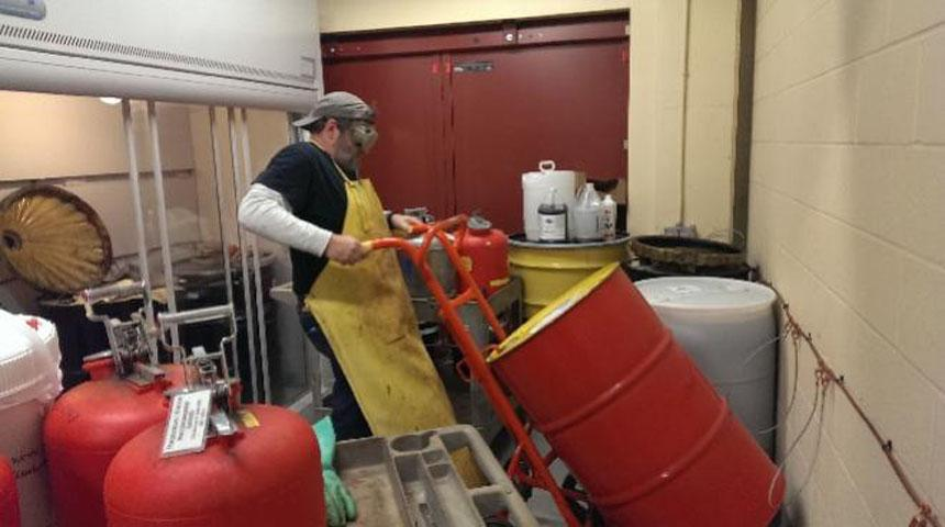 EHS Hazardous Waste Technician Kirk Larson Processing Hazardous Materials