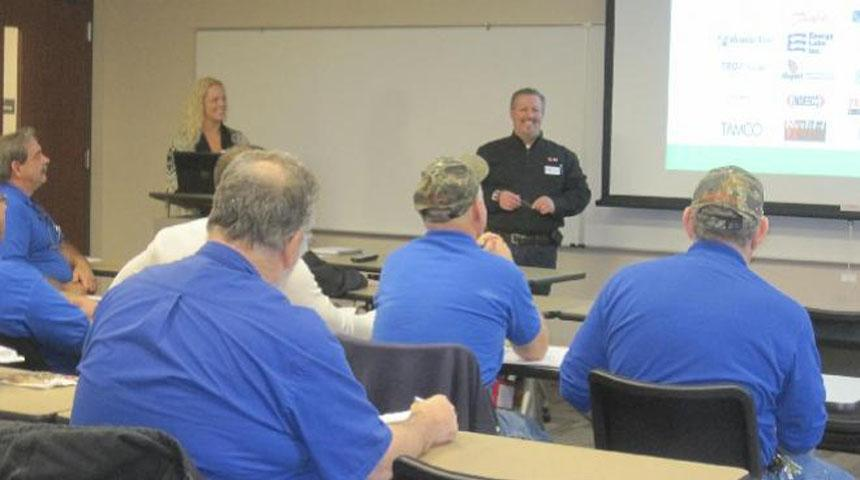 Facilities Services Personnel Strobic Exhaust Fan Training Workshop with Rex Mustain of Associated Air Products