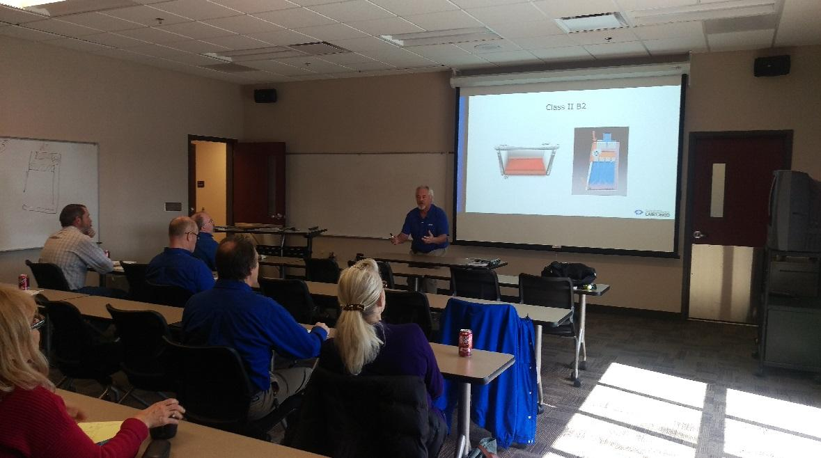 Scott Ward of Labconco conducting a biosafety cabinet class to DCM and EHS staff.